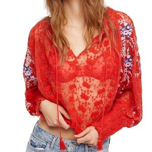 Free People Jubilee Mesh Embroidered Blouse Red M
